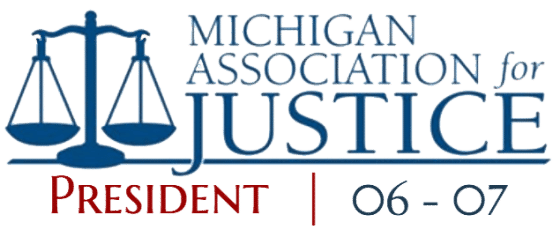 Michigan Association for Justice (MAJ) President, Jesse Reiter, Reiter & Walsh, P.C. | Award Badge
